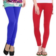 Stylobby Blue And Red Kids Legging Pack Of 2