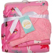 BABY BLANKET BUNNY PINK- RED- BROWN-WHITE