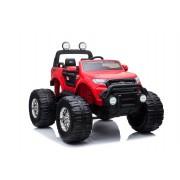 Ford Ranger Monster Truck 4X4, mașină electrică roșie, Telecomandă 2.4Ghz, Pornire lentă, intrare USB / Radio/SD/MP3 cu conectivitate Bluetooth, indicator capacitate baterie, roti uriașe EVA, suspensie, LED-uri, baterie
