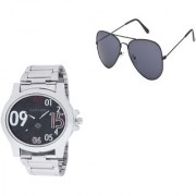GEMINIGOLD BRANDED MEN'S SILVER WATCH WITH BLACK GOOGLE COMBO PACK
