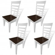 vidaXL Dining Chairs 4 pcs Solid Wood Brown and White