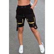 Pantaloni scurti EX Bretele Negru-Galben