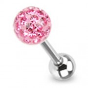 Tongpiercing met ferido multi crystal met Epoxy roze