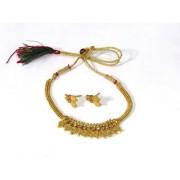 Golden Beautiful Jelebi Pendant with Stone Necklace Set