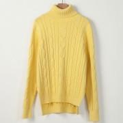 Suéter Para Mujer Con El Cuello Alto De Estilo Holgado - Amarillo