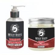 Mister Beard Bamboo Charcoal Face Wash 200ml WITH Skin Whitening Scrub 100g
