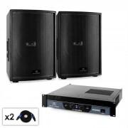 Malone Disco - Set PA DJ 2.0 SUB 2 x Subwoofer & Amplificador 2000 W (PL-3838-21665)