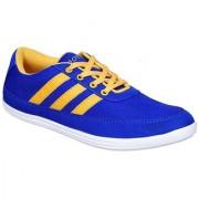 Sukun Mens Blue & Yellow Lace-up Smart Casuals Shoes