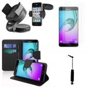 Samsung Galaxy A5 (2016) Sm-A510f A510m A510fd A5100 A510y: Lot Coque Etui Housse Pochette Accessoires Portefeuille Support Video Cuir Pu Effet Tissu Films Support Voiture Mini Stylet - Noir