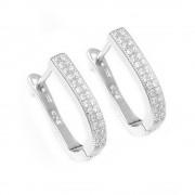 Cercei de Argint cu Design Liniar si Pietre Albe