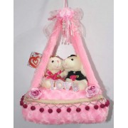 Pink Bed Hanging Jhoola with Love Couple Teddy Bears