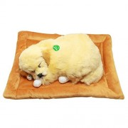 Tplay Breathing Dog Snoring Golden Retriever Puppy Plush Toy with Bed
