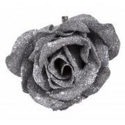 Bellatio flowers & plants Decoratie kunstbloem roos zilver 9 cm