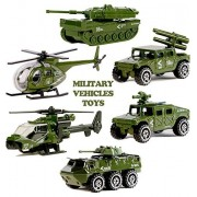 Military Vehicles Toys Set - 6pcs Die-cast Metal Army Cars Playset - Mini Army Tank,Jeep,Panzer,Anti-Air Vehicle,Attack Helicopter,Scout Helicopter Toys For Kids Toddlers Boys