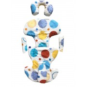 Set perne din bumbac pentru scaun auto copii si bebelusi Deluxe buline colorate