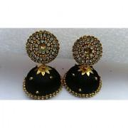 Silk thread earring jumkha black colour