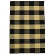 Annodato a mano. Provenienza: India Tappeto Tessuto A Mano Check Kilim - Nero/D'oro 140X200 Nero/Grigio Scuro (Lana, India)
