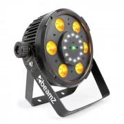 Beamz BX100 PAR Foco LED 6x 6W 4 en1 LEDs RGBW 12x Estroboscopio LEDs Láser RG (Sky-150.746)