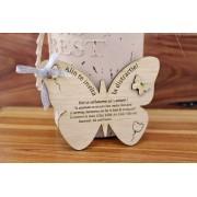 Invitatie fluture lemn obechi