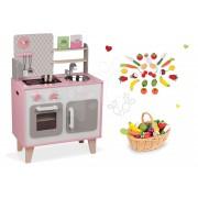 Set bucătărie de jucărie din lemn Macaron Maxi Cooker Janod roz şi fructe şi legume din lemn în coş 06567-2