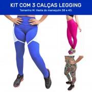 Kit 3 Calças Legging Fitness - e Tecido Bolha para Academia Tamanho M - ES100K