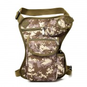 Canvas Tactical Waist Pack Outdoor Leg Bag Waist Bag Thigh Bag with Zipper - Woodland Camouflage