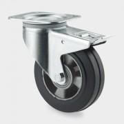 TENTE Transportrad mit gummilauffläche, drehbar mit bremse, 125 mm