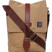 Swisstek Men & Women Casual Beige, Brown Canvas, PU Sling Bag