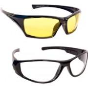 Unique Lens Sports Sunglasses(Clear, Yellow)