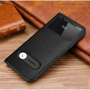 Dual View Window Genuine Leather Phone Cover for Apple iPhone 11 6.1 inch - Black