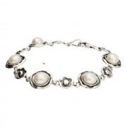 Srebrna oksydowana bransoletka z perłami L 1852