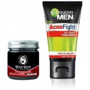 Mister Beard Activated Charcoal Scrub 100gm WITH Garnier AcnoFight Anti Pimple Face Wash