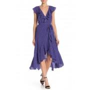 Max Studio Patterned Ruffle Wrap Midi Dress MAZBLBOC