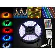 Fita LED RGB 12V 5050 36W C/ 5 Metros IP65 - C/ Controle Remoto