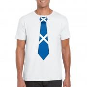 Bellatio Decorations Wit t-shirt met Schotland vlag stropdas heren