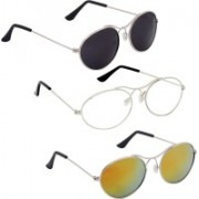 Phenomenal Oval Sunglasses(Black, Clear, Yellow)