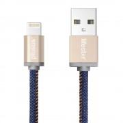 PlusUs LifeStar Handcrafted Lightning Cable - ръчно изработен сертифициран Lightning кабел за iPhone, iPad и iPod (100 см.) (син-златист)