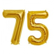 De-Ultimate Solid Golden Color 2 Digit Number (75) 3d Foil Balloon for Birthday Celebration Anniversary Parties