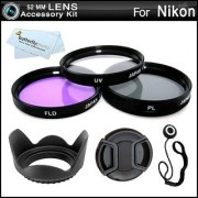 52MM Professional Lens Accessory Kit for NIKON Df DSLR (D5100 D5200 D5300 D3300 D3100 D40 D60 D80 P600) - Includes Filter Kit (UV Polarizing Fluorescent) Fits (18-55mm 55-200mm 50mm) Nikon Lenses