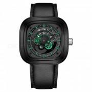 MUNITI reloj de cuarzo de los hombres elementos de carreras 30M correa de cuero de dial grande a prueba de agua reloj de los deportes casual deportivo - negro + verde
