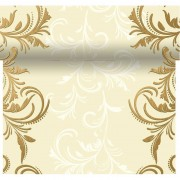 Duni Creme witte tafelloper 3-in-1 creme met barok print 480 x 40 cm