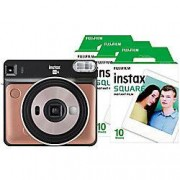 Fuji Instant Camera Instax Square SQ6 Blush Gold + 1 x 10 shot film pack, 1 x 20 shot film pack