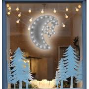 Karácsonyi LED ablakdísz hold 40 cm hideg fehér