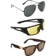 Zyaden Aviator, Wrap-around, Wayfarer Sunglasses(Black, Yellow, Brown)