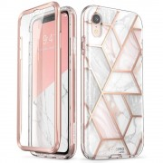 Carcasa stylish Supcase Cosmo iPhone XR cu protectie display, Marble