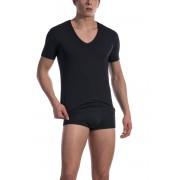Olaf Benz RED 1601 Low V Neck Short Sleeved T Shirt Black 1-07419/8000