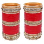 Lucky Jewellery Red Bridal Golden & White Stone Chura Designer Fashion Choora Punjabi Wedding Chuda Set