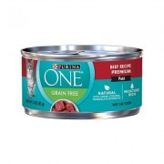Purina ONE Classic Beef Recipe Premium Pate Grain-Free Canned Cat Food, 3-oz, case of 24