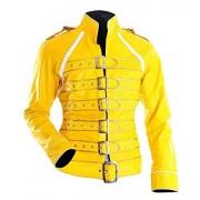 CHICAGO-FASHIONS Freddie Chamarra de Piel para Mujer, diseño de Concierto con cinturón, Color Amarillo, Amarillo, Medium-10 US