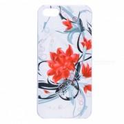 Kinston Flor patron de la caja de plastico para IPHONE 5 / 5S - rojo + blanco